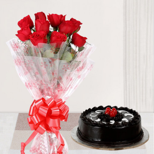 Small Roses Bunch with Cake