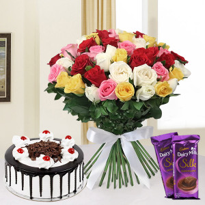 Mixed Roses Hamper With Cake