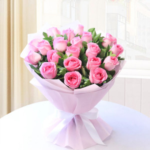 Pink Roses in Pink Packing