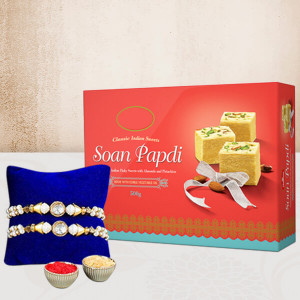 2 Rakhis And Soan  Papdi Combo