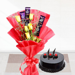 Cadbury N Roses Bunch With Cake