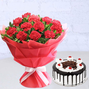 Carnation With Black Forest Cake
