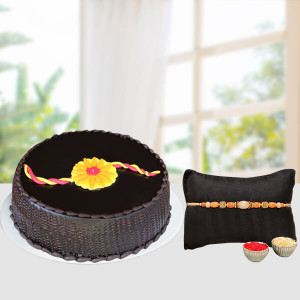 Chocolate cake with fancy rakhi