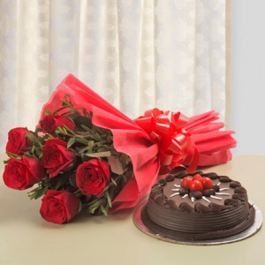 Chocolate Cake With 6 Red Roses Bunch