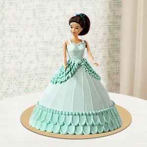 Sea Blue Barbie Doll Cake