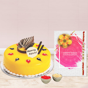Fascinate Pineapple Cake With Rakhi