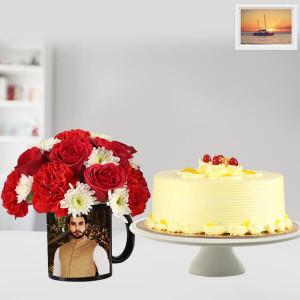 Red & White Flower with Butterscotch Cake