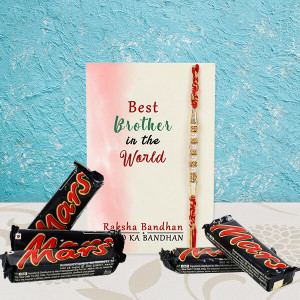 Rakhi With Five Mars Chocolates
