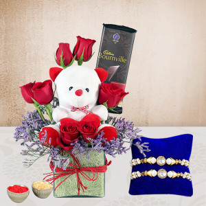 Teddy With Roses N Rakhi