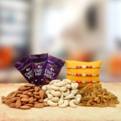 3 Rakhi Dry Fruits and 4 Dairymilk