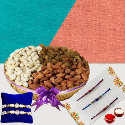5 Rakhi with Dry Fruits Basket