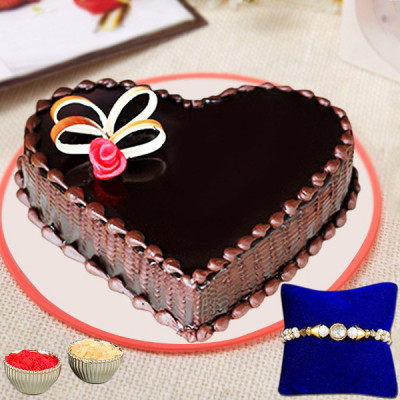 Chocolate Heart Shape Cake With Rakhi