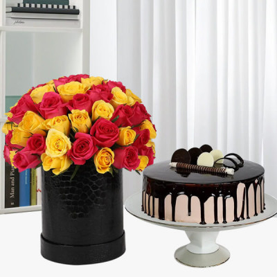 Chocolate Cake with 80 Red & Yellow Roses