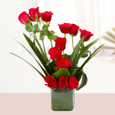 Beautiful Red Roses Vase