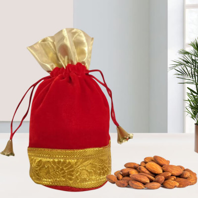 Red n Golden Potli with Almond