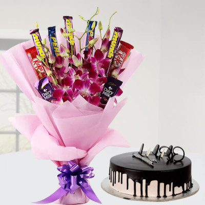 Chocolate Orchid Bouquet N Cake