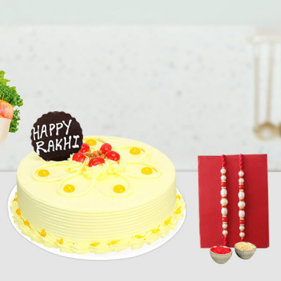 Fancy rakhi with butter scotch cake