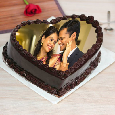 Heart Shaped Chocolate Photo Cake