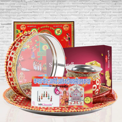 Golden Thali Set & Karwa Chauth Special Red