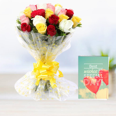Mix Roses with Greeting