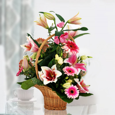 Exclusive Pink Flowers Basket