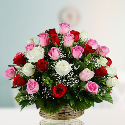 Pink, White and Red Roses Basket