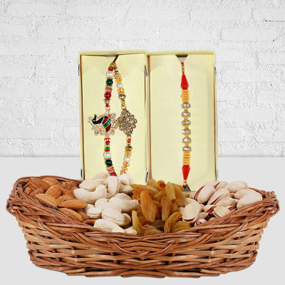Rakhi With Dry Fruits Basket
