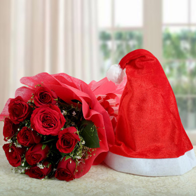 Red Roses with Cap