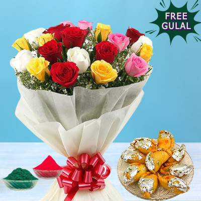 Roses With Gujiya Combo